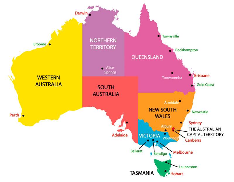 turismo na Austrália: mapa